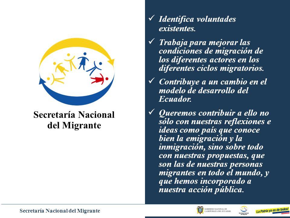Secretaría Nacional del Migrante Identifica voluntades existentes. Trabaja para mejorar las condiciones de migración de los diferentes actores en los
