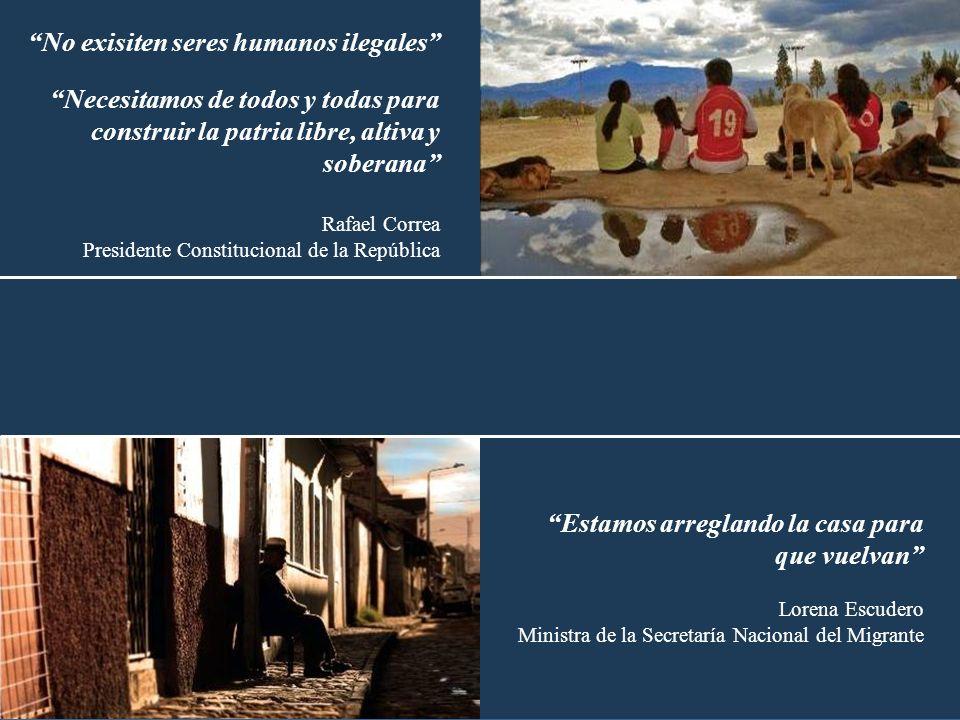 No exisiten seres humanos ilegales Necesitamos de todos y todas para construir la patria libre, altiva y soberana Rafael Correa Presidente Constitucio