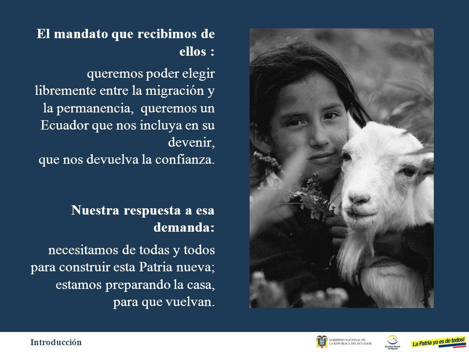 a)Restablecer vínculos de los ecuatorianos con su país: Plataforma virtual, Casa ecuatoriana b)Consulta previa al retorno: Resultados reales que guían nuestro trabajo c)Facilidades de Retorno: Menaje de casa, Automóvil y Equipo de trabajo.