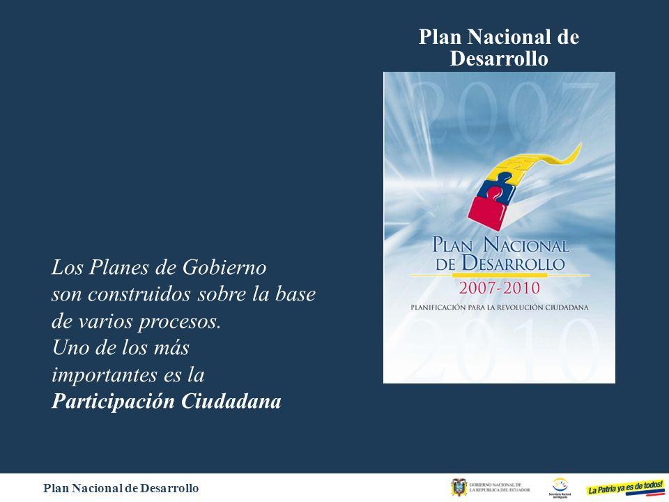 Plan Nacional de Desarrollo Los Planes de Gobierno son construidos sobre la base de varios procesos. Uno de los más importantes es la Participación Ci