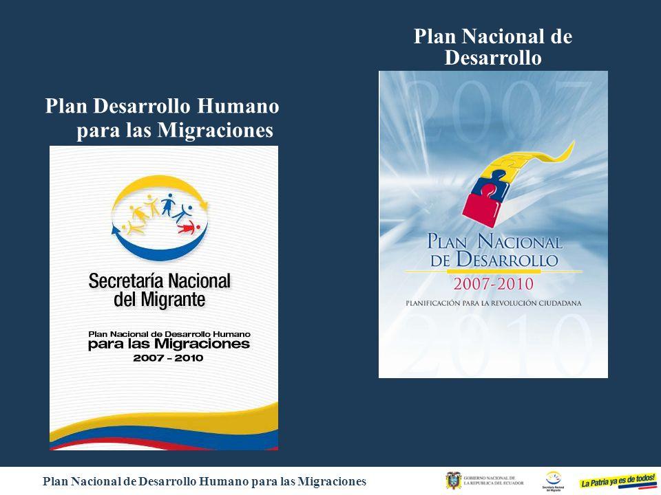 Plan Nacional de Desarrollo Humano para las Migraciones Basada en el respeto a los derechos de la persona migrante y su familia.