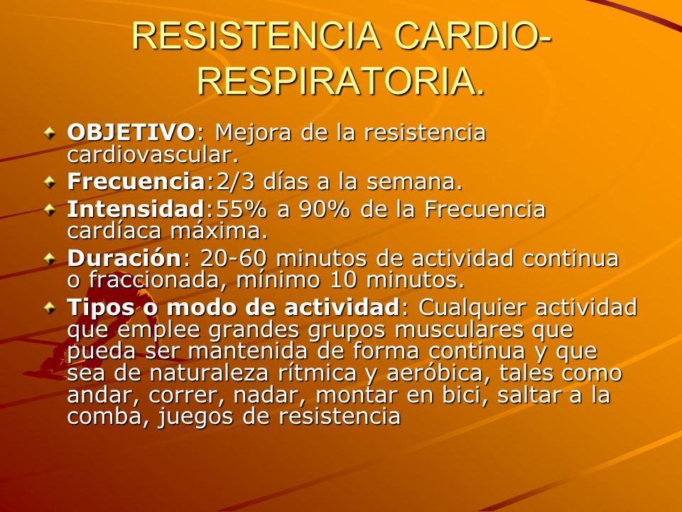 RESISTENCIA CARDIO- RESPIRATORIA. OBJETIVO: Mejora de la resistencia cardiovascular. Frecuencia:2/3 días a la semana. Intensidad:55% a 90% de la Frecu