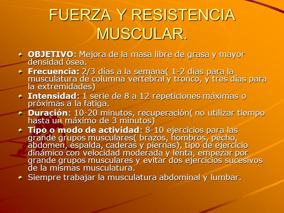 FUERZA Y RESISTENCIA MUSCULAR. OBJETIVO: Mejora de la masa libre de grasa y mayor densidad ósea. Frecuencia: 2/3 días a la semana( 1-2 días para la mu