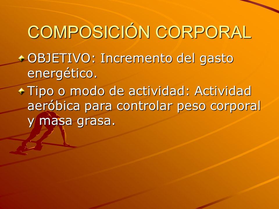 COMPOSICIÓN CORPORAL OBJETIVO: Incremento del gasto energético. Tipo o modo de actividad: Actividad aeróbica para controlar peso corporal y masa grasa