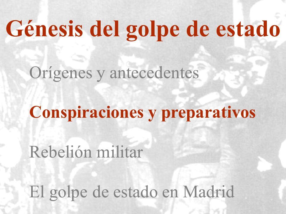 Génesis del golpe de estado Orígenes y antecedentes Conspiraciones y preparativos Rebelión militar El golpe de estado en Madrid