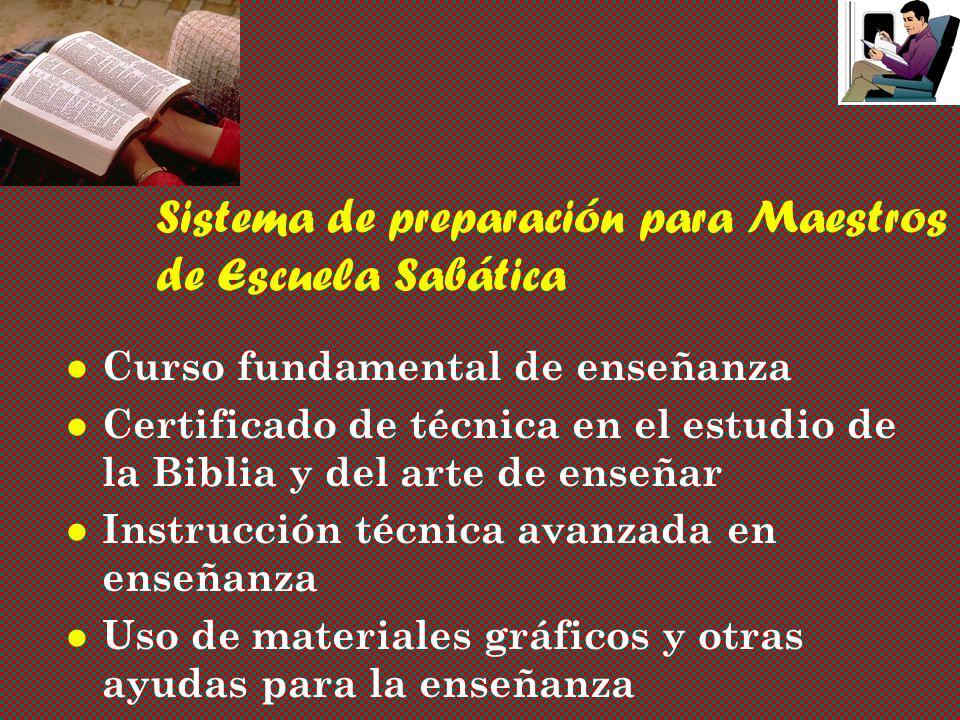 Sistema de preparación para Maestros de Escuela Sabática Curso fundamental de enseñanza Certificado de técnica en el estudio de la Biblia y del arte de enseñar Instrucción técnica avanzada en enseñanza Uso de materiales gráficos y otras ayudas para la enseñanza