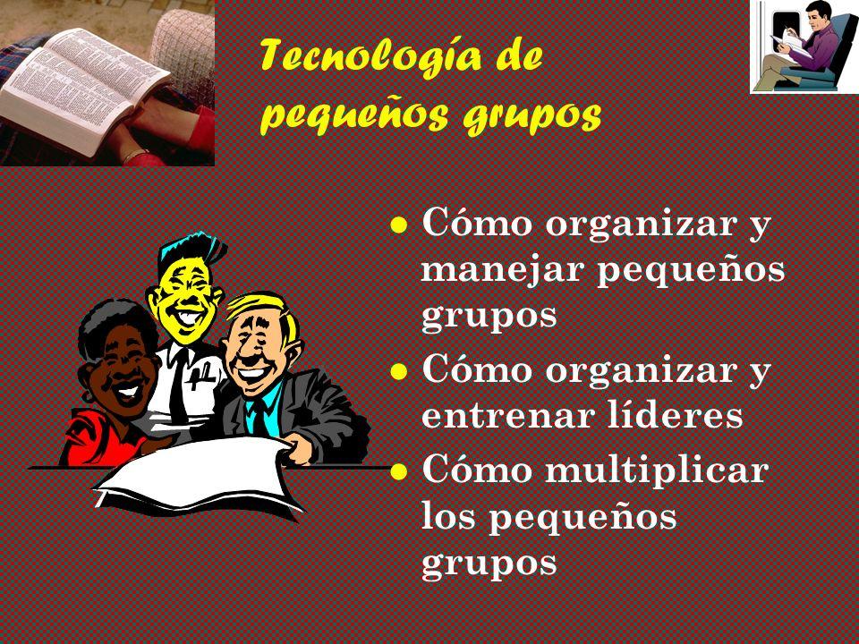 Tecnología de pequeños grupos Cómo organizar y manejar pequeños grupos Cómo organizar y entrenar líderes Cómo multiplicar los pequeños grupos