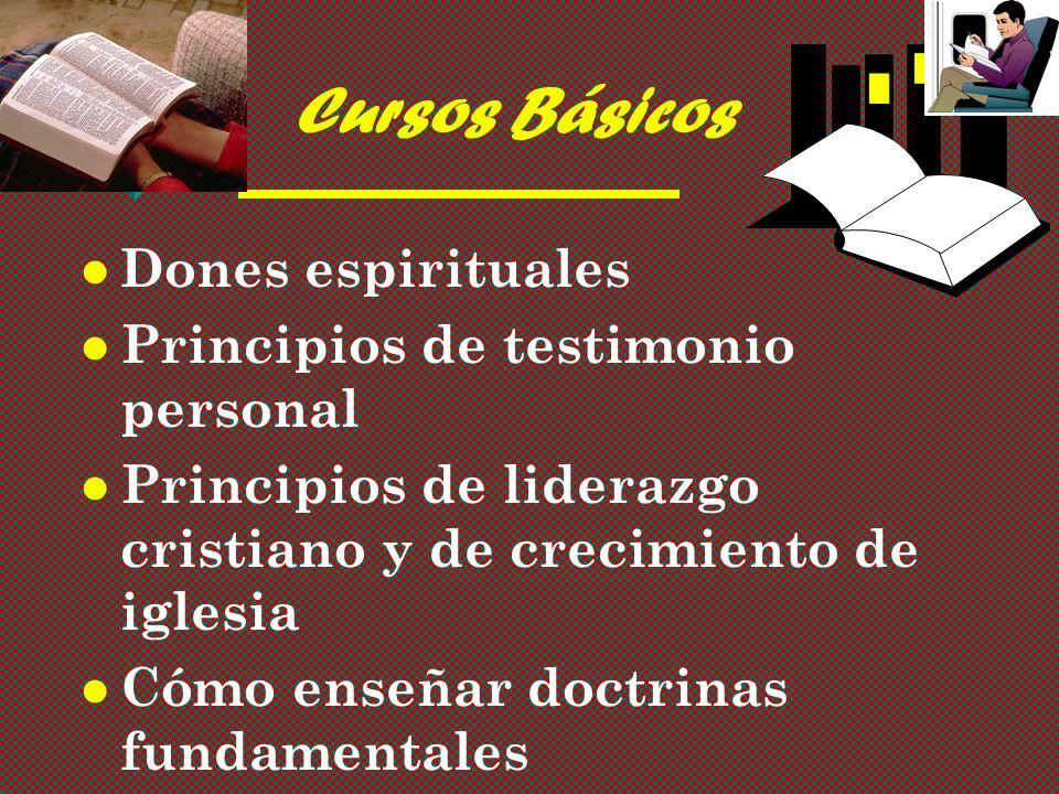 Cursos Básicos Dones espirituales Principios de testimonio personal Principios de liderazgo cristiano y de crecimiento de iglesia Cómo enseñar doctrinas fundamentales