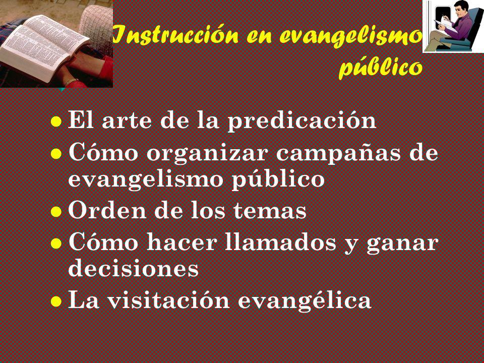 Instrucción en evangelismo público El arte de la predicación Cómo organizar campañas de evangelismo público Orden de los temas Cómo hacer llamados y ganar decisiones La visitación evangélica