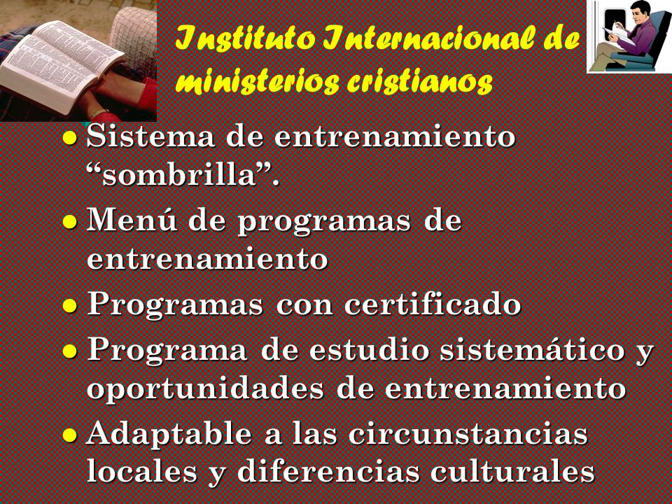 Instituto Internacional de ministerios cristianos Sistema de entrenamiento sombrilla.