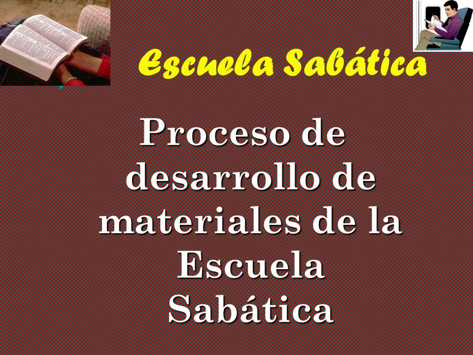 Escuela Sabática Proceso de desarrollo de materiales de la Escuela Sabática