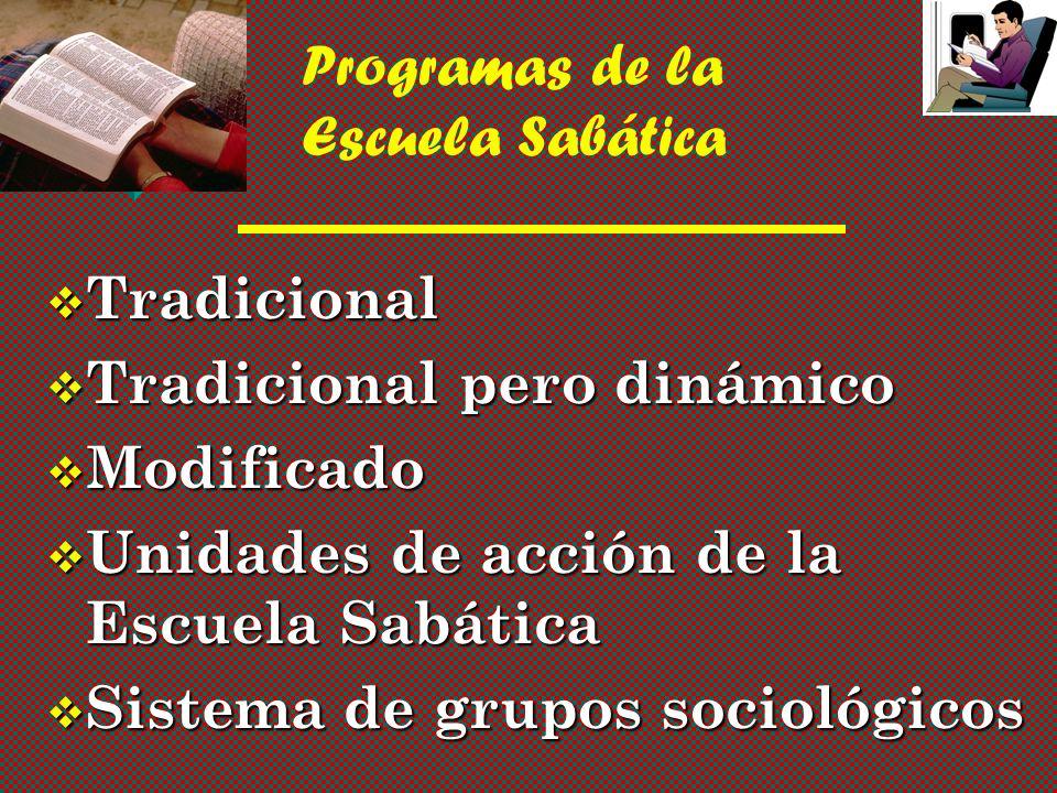 Programas de la Escuela Sabática v Tradicional v Tradicional pero dinámico v Modificado v Unidades de acción de la Escuela Sabática v Sistema de grupos sociológicos