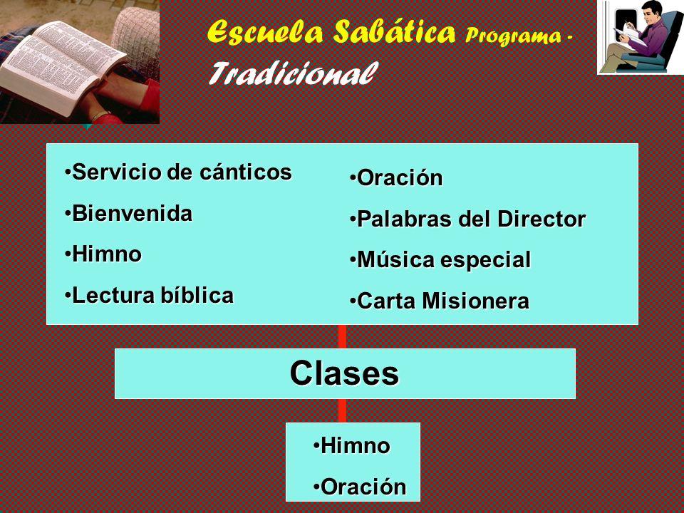 Programas de la Escuela Sabática v Tradicional v Tradicional pero dinámico v Modificado v Unidades de acción de la Escuela Sabática v Sistema de grupo