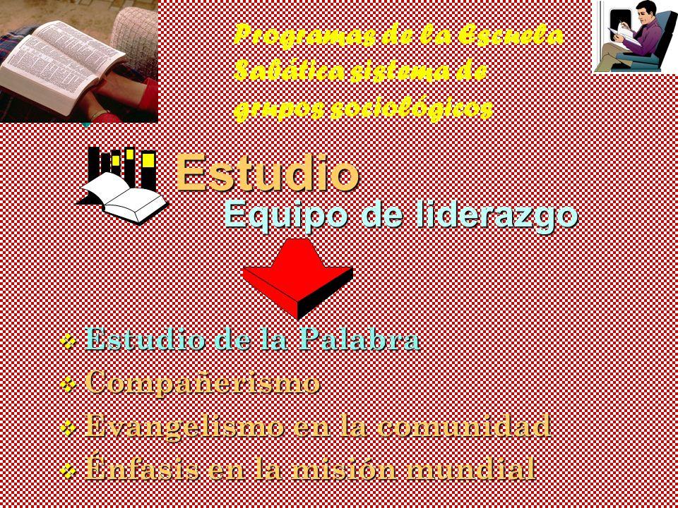 Programas de la Escuela Sabática sistema de grupos sociológicosEstudio Equipo de liderazgo v Estudio de la Palabra v Compañerismo v Evangelismo en la comunidad v Énfasis en la misión mundial