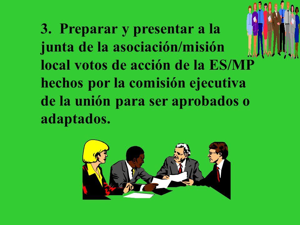 2. Proveer informe completo y cuidadoso sobre el campo local, y mantener al departamento de ES/MP de la unión informado sobre el progreso del trabajo