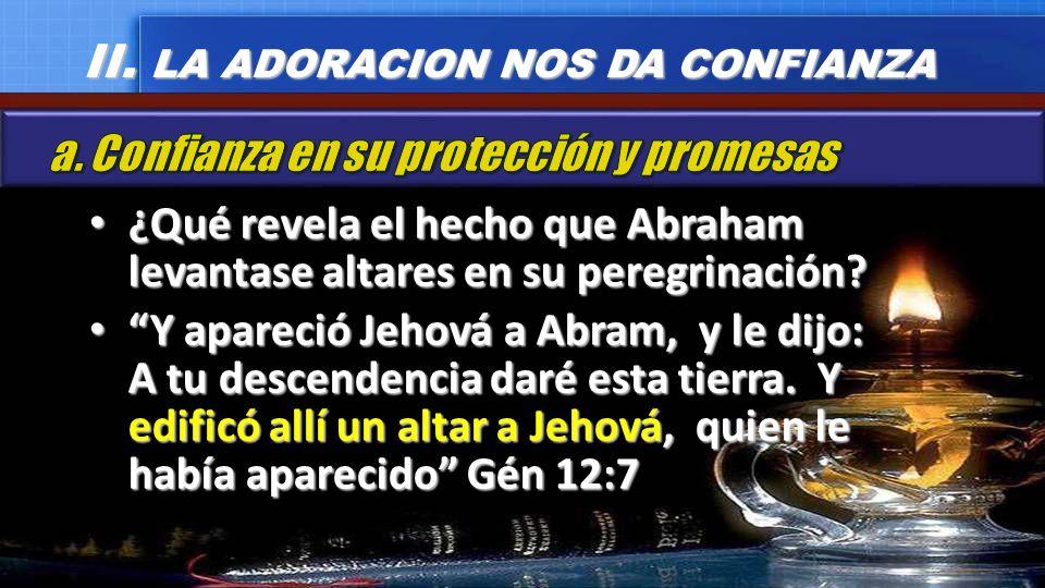 ¿Qué revela el hecho que Abraham levantase altares en su peregrinación? ¿Qué revela el hecho que Abraham levantase altares en su peregrinación? Y apar