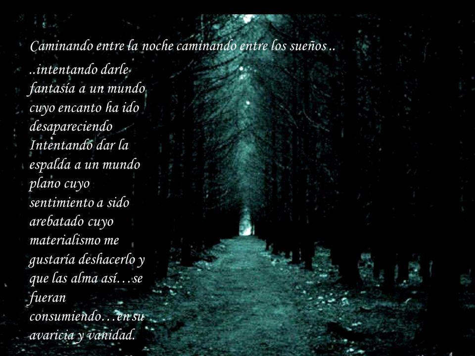 Caminando entre la noche caminando entre los sueños....intentando darle fantasía a un mundo cuyo encanto ha ido desapareciendo Intentando dar la espal