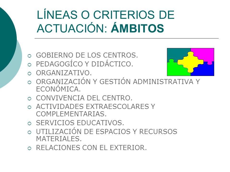 LÍNEAS O CRITERIOS DE ACTUACIÓN: ÁMBITOS GOBIERNO DE LOS CENTROS.