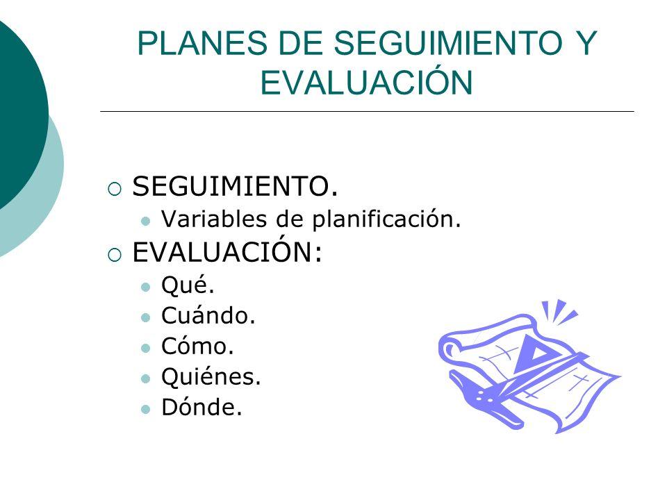PLANES DE SEGUIMIENTO Y EVALUACIÓN SEGUIMIENTO. Variables de planificación.