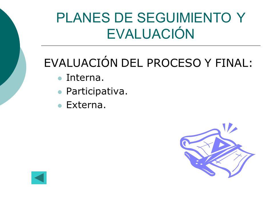 PLANES DE SEGUIMIENTO Y EVALUACIÓN EVALUACIÓN DEL PROCESO Y FINAL: Interna. Participativa. Externa.