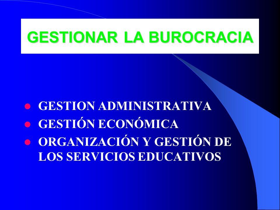 GESTIONAR LA BUROCRACIA GESTION ADMINISTRATIVA GESTIÓN ECONÓMICA ORGANIZACIÓN Y GESTIÓN DE LOS SERVICIOS EDUCATIVOS