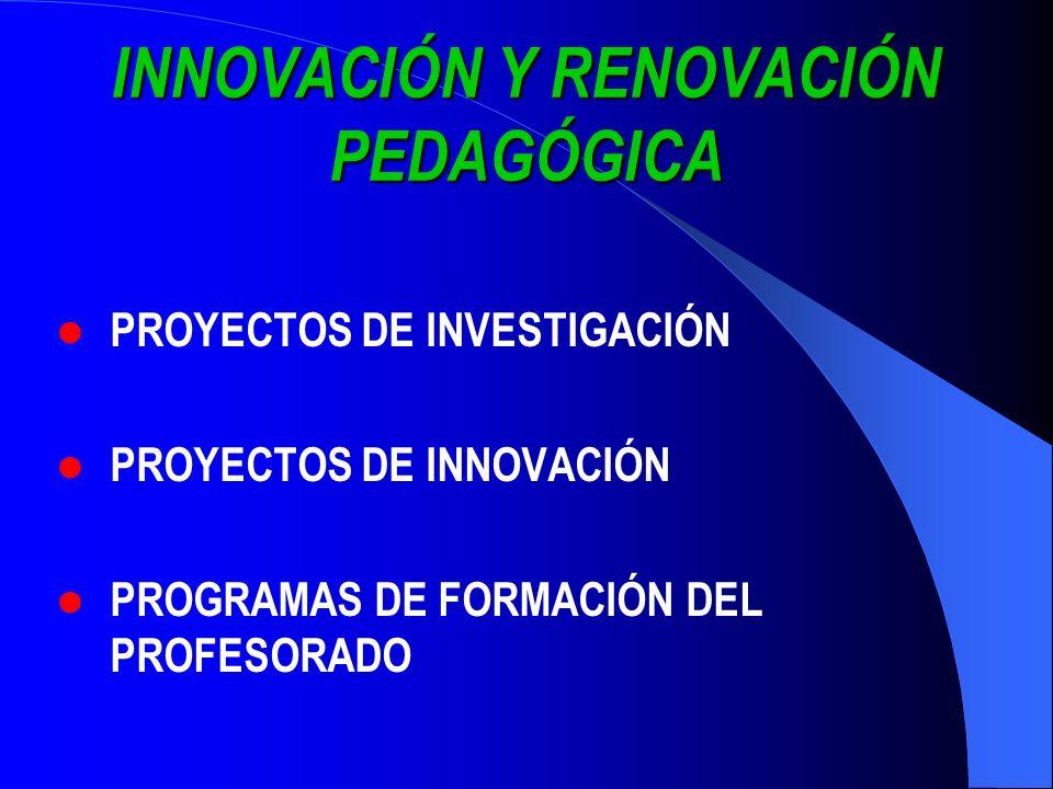 INNOVACIÓN Y RENOVACIÓN PEDAGÓGICA PROYECTOS DE INVESTIGACIÓN PROYECTOS DE INNOVACIÓN PROGRAMAS DE FORMACIÓN DEL PROFESORADO