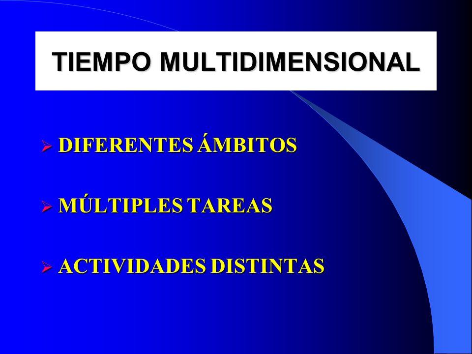 TIEMPO MULTIDIMENSIONAL DIFERENTES ÁMBITOS DIFERENTES ÁMBITOS MÚLTIPLES TAREAS MÚLTIPLES TAREAS ACTIVIDADES DISTINTAS ACTIVIDADES DISTINTAS