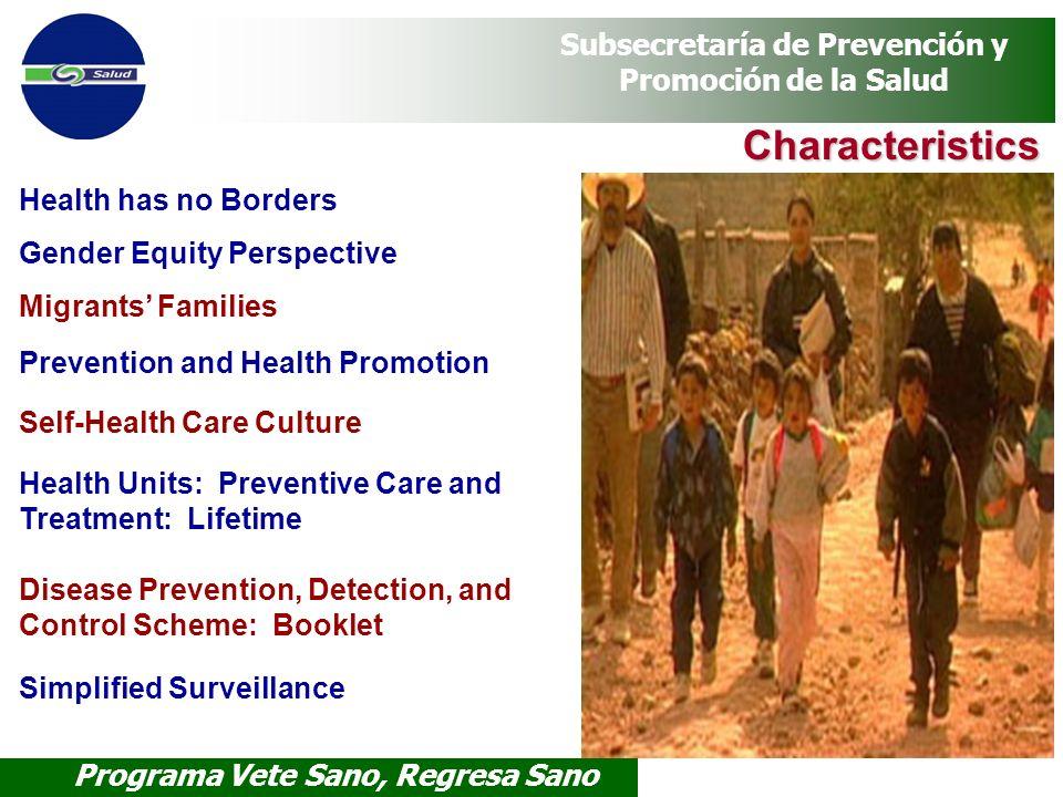 Programa Vete Sano, Regresa Sano Subsecretaría de Prevención y Promoción de la Salud Characteristics Health has no Borders Gender Equity Perspective M
