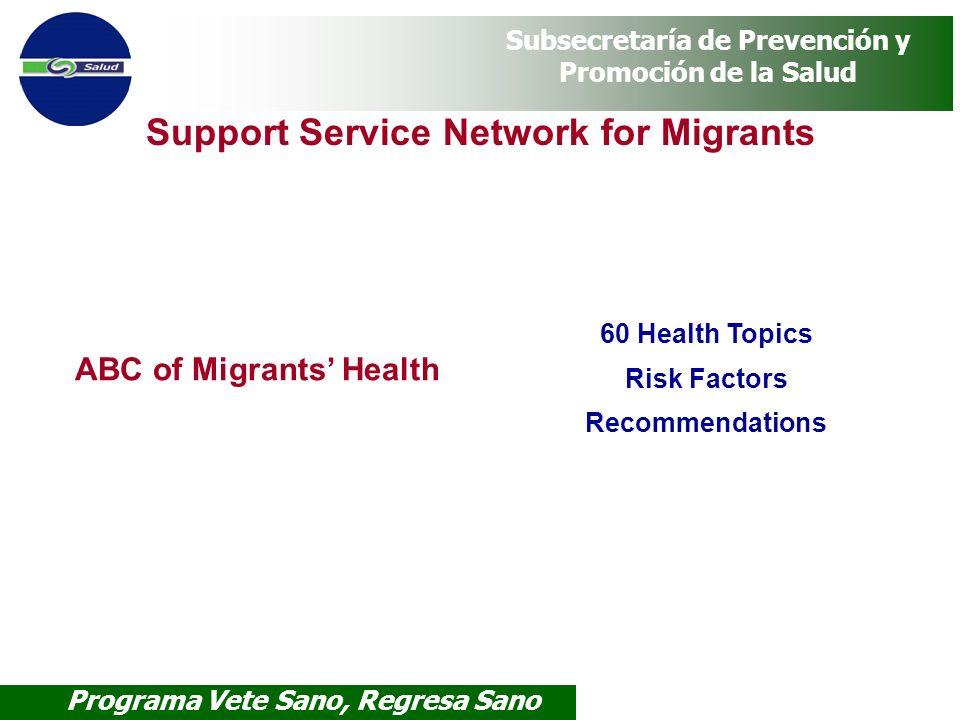 Programa Vete Sano, Regresa Sano Subsecretaría de Prevención y Promoción de la Salud Support Service Network for Migrants ABC of Migrants Health 60 He