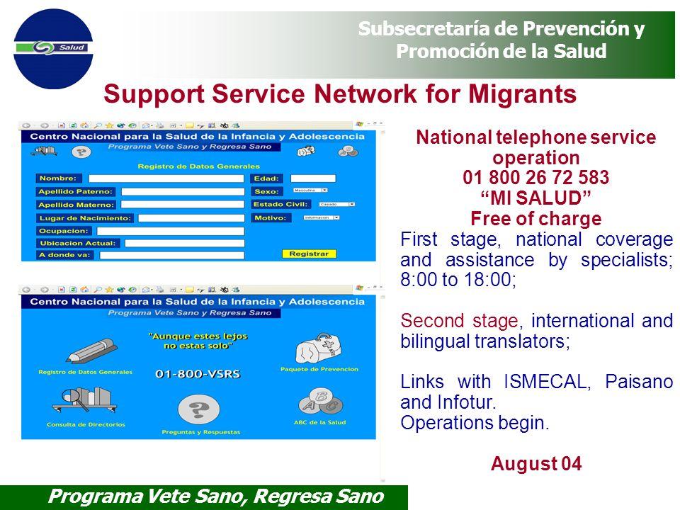 Programa Vete Sano, Regresa Sano Subsecretaría de Prevención y Promoción de la Salud Support Service Network for Migrants National telephone service o