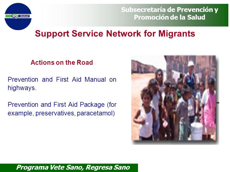 Programa Vete Sano, Regresa Sano Subsecretaría de Prevención y Promoción de la Salud Support Service Network for Migrants Actions on the Road Preventi