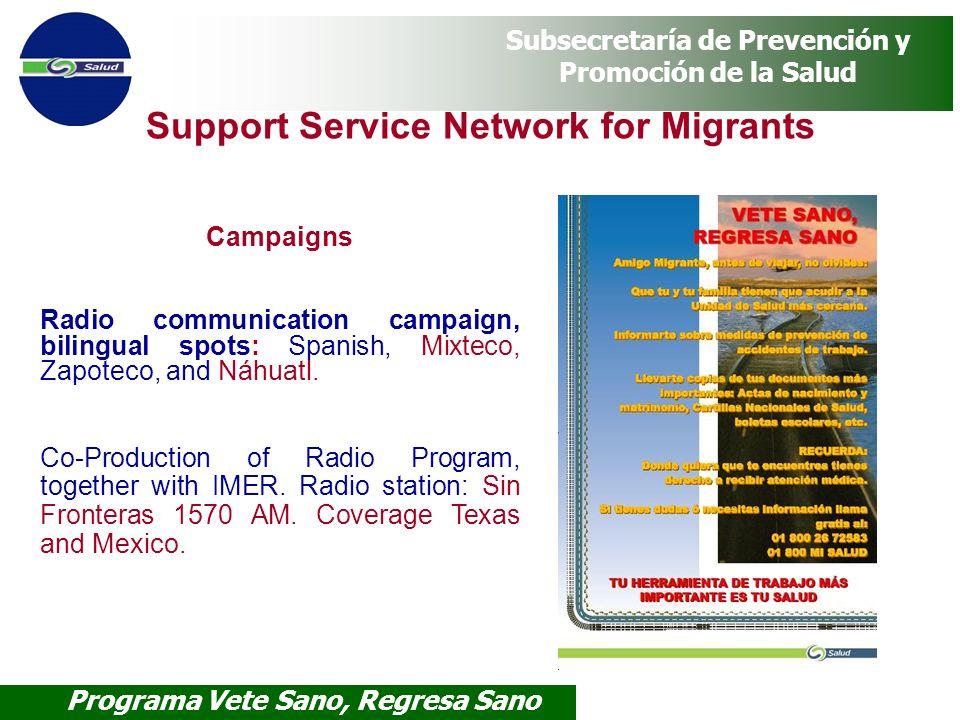 Programa Vete Sano, Regresa Sano Subsecretaría de Prevención y Promoción de la Salud Campaigns Radio communication campaign, bilingual spots: Spanish,