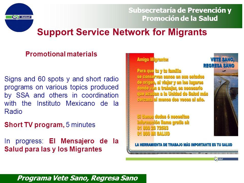 Programa Vete Sano, Regresa Sano Subsecretaría de Prevención y Promoción de la Salud Promotional materials Signs and 60 spots y and short radio progra