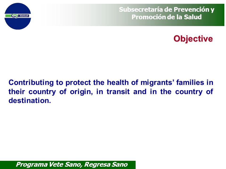 Programa Vete Sano, Regresa Sano Subsecretaría de Prevención y Promoción de la Salud Objective Contributing to protect the health of migrants families