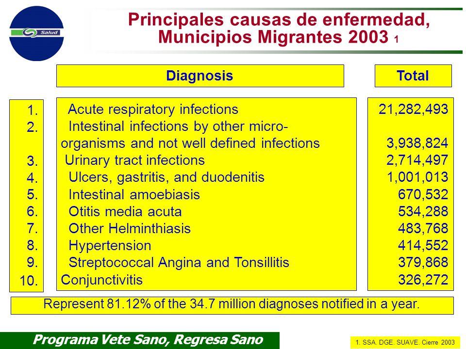Programa Vete Sano, Regresa Sano Subsecretaría de Prevención y Promoción de la Salud Principales causas de enfermedad, Municipios Migrantes 2003 1 Acu