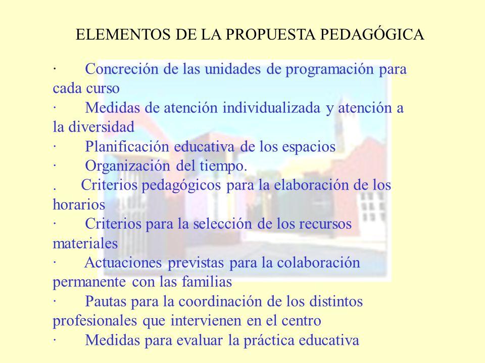 ELEMENTOS DE LA PROPUESTA PEDAGÓGICA · Concreción de las unidades de programación para cada curso · Medidas de atención individualizada y atención a l
