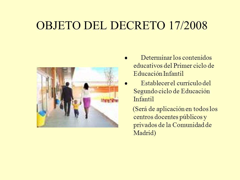 OBJETO DEL DECRETO 17/2008 Determinar los contenidos educativos del Primer ciclo de Educación Infantil Establecer el currículo del Segundo ciclo de Ed