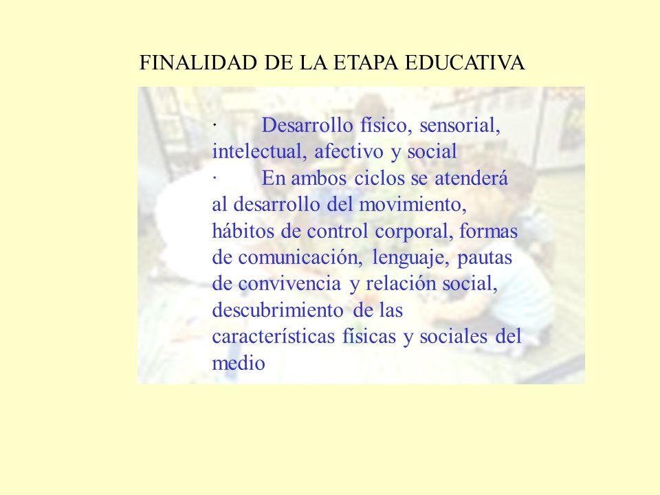 FINALIDAD DE LA ETAPA EDUCATIVA · Desarrollo físico, sensorial, intelectual, afectivo y social · En ambos ciclos se atenderá al desarrollo del movimie