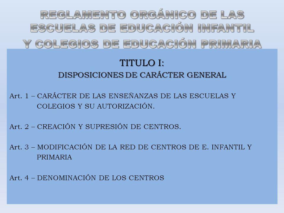 TITULO I: DISPOSICIONES DE CARÁCTER GENERAL Art. 1 – CARÁCTER DE LAS ENSEÑANZAS DE LAS ESCUELAS Y COLEGIOS Y SU AUTORIZACIÓN. Art. 2 – CREACIÓN Y SUPR