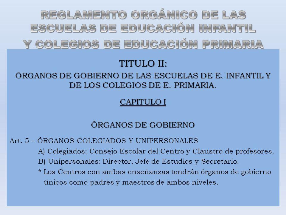 TITULO II: ÓRGANOS DE GOBIERNO DE LAS ESCUELAS DE E. INFANTIL Y DE LOS COLEGIOS DE E. PRIMARIA. CAPITULO I ÓRGANOS DE GOBIERNO Art. 5 – ÓRGANOS COLEGI