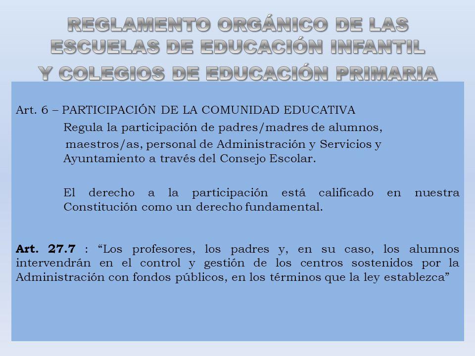 Art. 6 – PARTICIPACIÓN DE LA COMUNIDAD EDUCATIVA Regula la participación de padres/madres de alumnos, maestros/as, personal de Administración y Servic