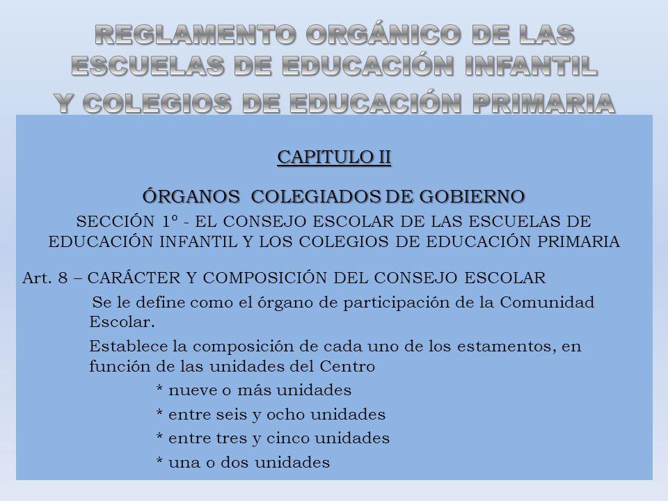 CAPITULO II ÓRGANOS COLEGIADOS DE GOBIERNO SECCIÓN 1º - EL CONSEJO ESCOLAR DE LAS ESCUELAS DE EDUCACIÓN INFANTIL Y LOS COLEGIOS DE EDUCACIÓN PRIMARIA