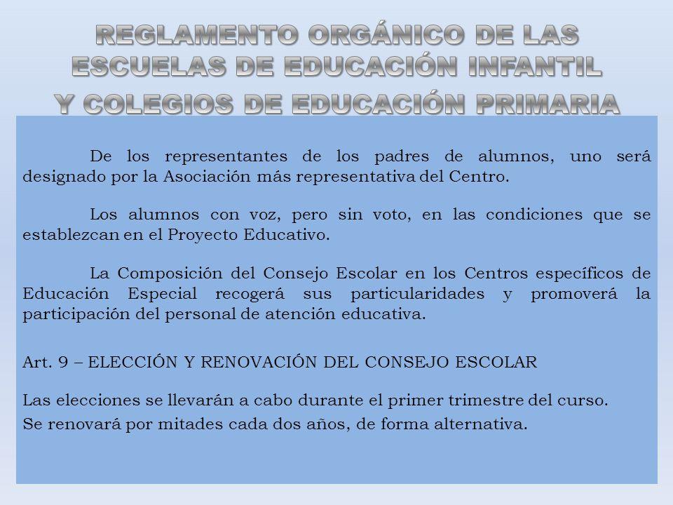 De los representantes de los padres de alumnos, uno será designado por la Asociación más representativa del Centro. Los alumnos con voz, pero sin voto
