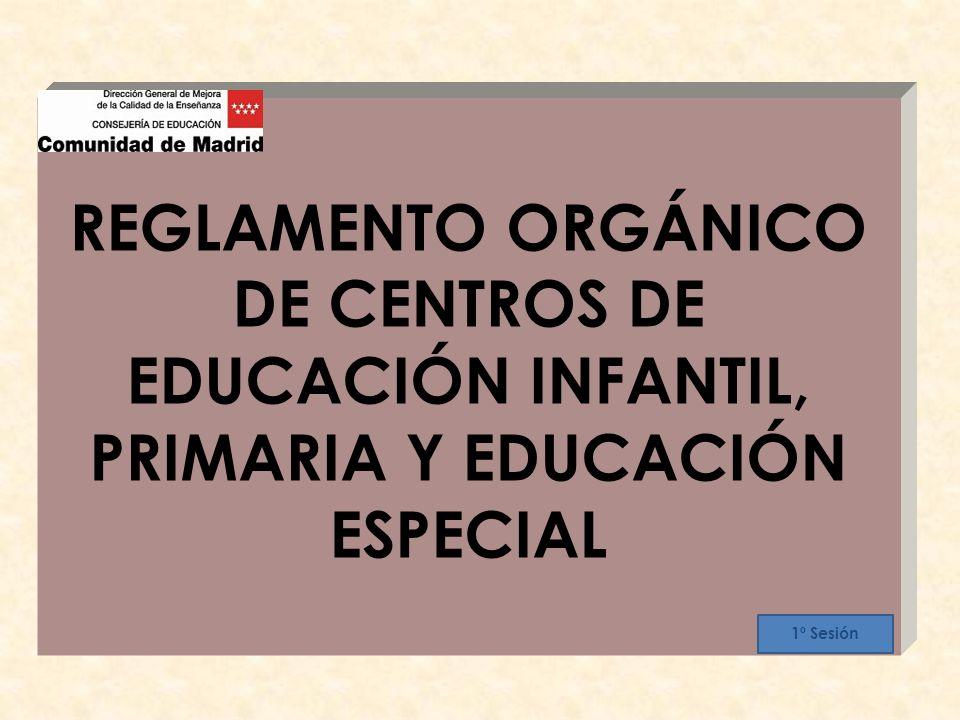 REGLAMENTO ORGÁNICO DE CENTROS DE EDUCACIÓN INFANTIL, PRIMARIA Y EDUCACIÓN ESPECIAL 1º Sesión