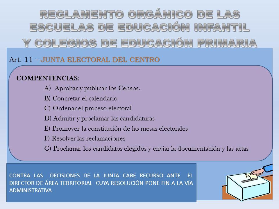 JUNTA ELECTORAL DEL CENTRO Art. 11 – JUNTA ELECTORAL DEL CENTRO COMPENTENCIAS: A) Aprobar y publicar los Censos. B) Concretar el calendario C) Ordenar