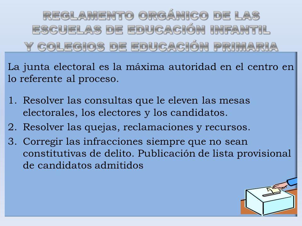 La junta electoral es la máxima autoridad en el centro en lo referente al proceso. 1.Resolver las consultas que le eleven las mesas electorales, los e