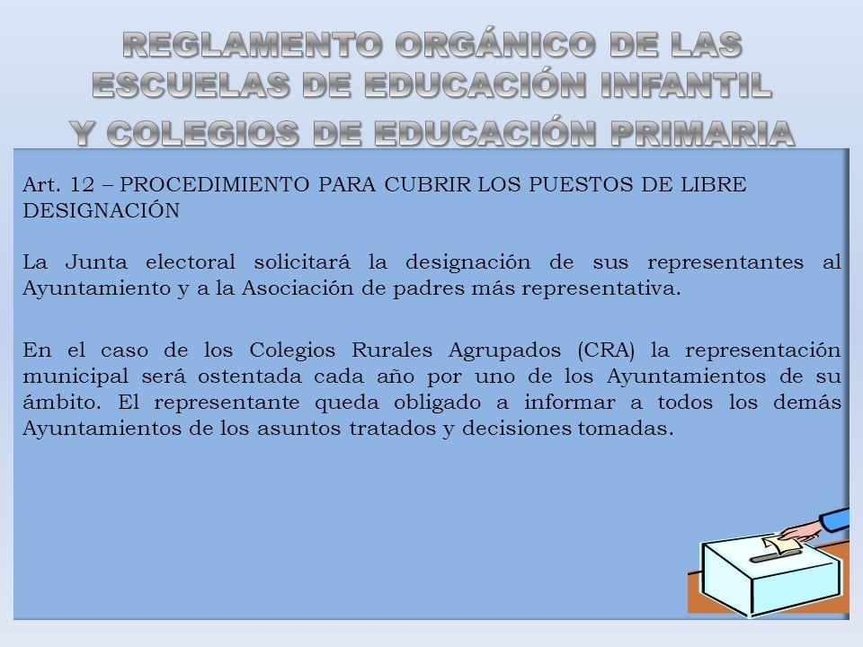 Art. 12 – PROCEDIMIENTO PARA CUBRIR LOS PUESTOS DE LIBRE DESIGNACIÓN La Junta electoral solicitará la designación de sus representantes al Ayuntamient