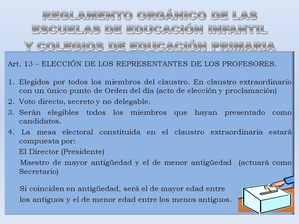 Art. 13 – ELECCIÓN DE LOS REPRESENTANTES DE LOS PROFESORES. 1.Elegidos por todos los miembros del claustro. En claustro extraordinario con un único pu