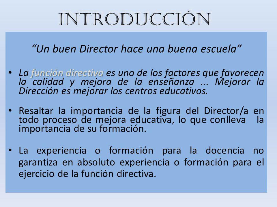 INTRODUCCIÓN Un buen Director hace una buena escuela función directiva La función directiva es uno de los factores que favorecen la calidad y mejora d