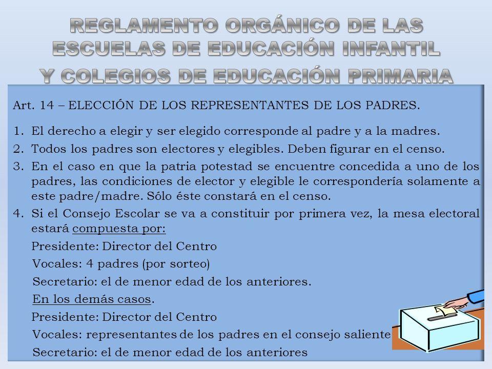 Art. 14 – ELECCIÓN DE LOS REPRESENTANTES DE LOS PADRES. 1.El derecho a elegir y ser elegido corresponde al padre y a la madres. 2.Todos los padres son